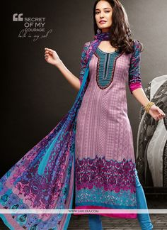 Lisa Haydon Multicolor Cotton Satin Churidar Salwar Kameez