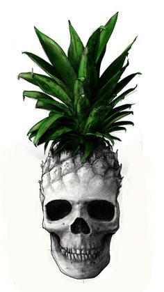 What is the appeal of combining pineapples and skulls? I see no payoff. ------------------------ Pineapple Skull by Sebastien Yarks, via Behance Tattoo Caveira, Hibiscus Tattoo, Pineapple Tattoo, Frida Art, Skeleton Art, Candy Skulls, Hawaiian Tattoo, Anatomy Art, Skull Tattoos