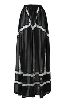 Bless'ed are the Meek - Turn to Gold Maxi Skirt - Black and Lace $169.95