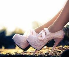 pink glitter heels with bows