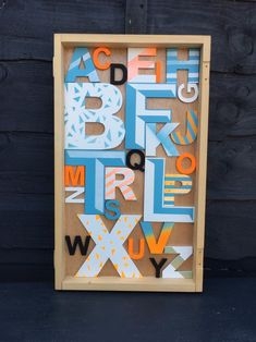 Excited to share this item from my shop: Original Alphabet Wooden Letter Wall Art. Wooden Alphabet, Alphabet Art, Wooden Letters, Seaside Art, Beach Art, Driftwood Frame, Letter Wall Art, Graffiti Styles, Vintage Box