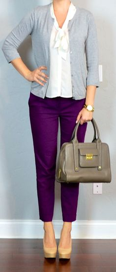 Outfit Posts: outfit post: purple cropped pants, white tie-neck blouse, grey cardigan
