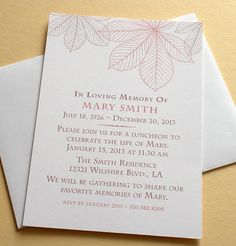Celebration Of Life Invitation With Autumn Leaves   Custom   Set Of 36 For  $63.95.