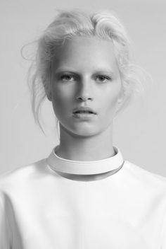 White Simplicity - minimalist top with leather collar detail; understated style