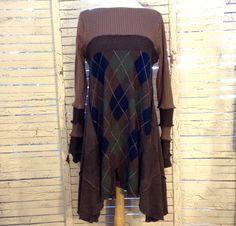 Long Sweater Tunic L/XL Argyle Sweater Upcycled Clothing