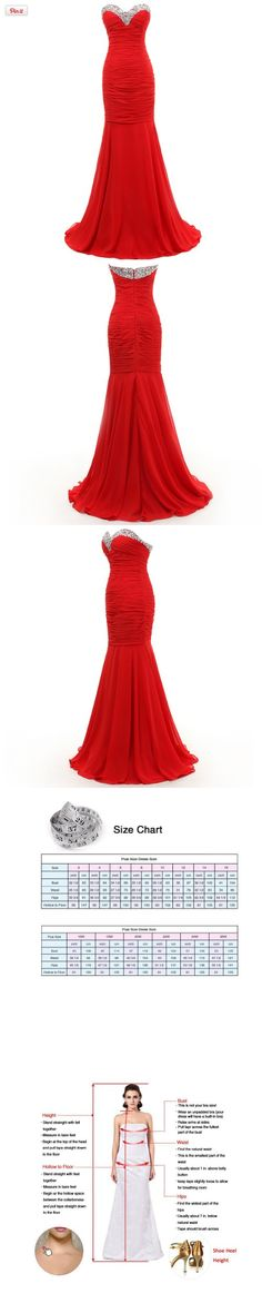 Dresstells Mermaid Beading Long Chiffon Evening Gown Formal Party Dress for Women US Plus Size 26W Red, This sweetheart mermaid long red chiffon evening dress with beading is suitable for formal party dresses for women, wedding party dresses., #Apparel, #Special Occasion