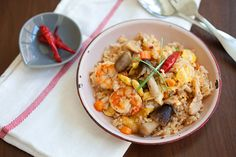 A recipe for Tom Yum Fried Rice with a cook time of about 5 minutes!