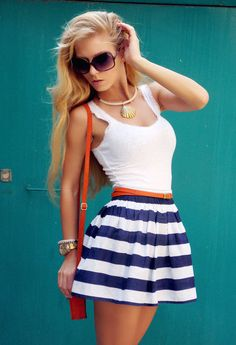Blue striped skirt with white tank & red belt and bag , nautical -- want!