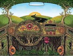 trippy hippie bus #art #nature