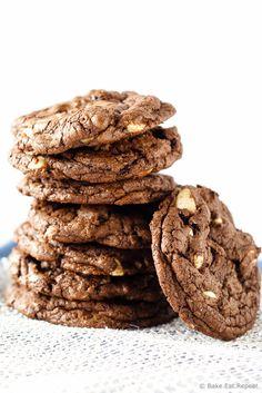 Triple Chocolate Macadamia Nut Cookies - Soft brownie like chocolate cookies filled with dark chocolate chunks, white chocolate chips and macadamia nuts.
