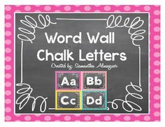 Brighten up your classroom with these adorable chalk letters in colorful frames!  They can be used as word wall headers, bulletin boards, and more!  Letters include both capital and lower case.