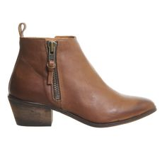 Office Imposter Side Zip Ankle Boot Tan Leather - Ankle Boots