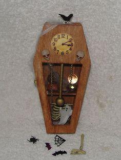 Dollhouse Halloween Miniature Coffin Clock Goodies OOAK 6 in Mini Artist | eBay