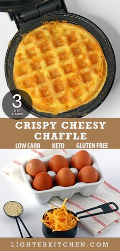 Quick and easy Basic Chaffle Recipe using only 3 ingredients: cheese, eggs and either coconut or almond flour. If you're missing sandwiches on your low carb diet or Keto diet, use this basic chaffle recipe in place of bread. Plus check out our other tasty Low Carb Recipes, Diet Recipes, Snack Recipes, Healthy Recipes, Healthy Desserts, Sweets Recipes, Recipes Dinner, Smoothie Recipes, Bread Recipes