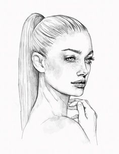 ▷ 1001 + ideas and inspirations for pictures to draw - Zeichnungen - pictures-to-draw-how-to-draw-woman-face-woman-ponytail-hairstyle-realistic-drawing - Pencil Art Drawings, Realistic Drawings, Art Drawings Sketches, Easy Drawings, Disney Drawings, Drawings Of Faces, Drawing Disney, Girl Drawings, Dress Sketches