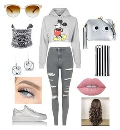 """""""Grey"""" by nicabianca on Polyvore featuring Topshop, Prada Sport, Anya Hindmarch, MICHAEL Michael Kors, Oliver Peoples, LULUS, Anne Sisteron and Lime Crime"""