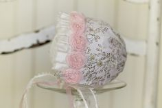 Baby girl clothes,Upcycled bonnet,Newborn bonnet,Upcycled hat,Photography prop,Vintage bonnet,Lace hat,Baby shower gift,Going home hat - pinned by pin4etsy.com