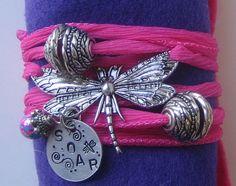Hand Stamped  Silk Ribbon Bracelet  Dragonfly  Hand by thepurediva, $18.00
