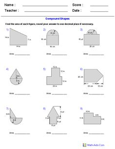 Area of Compound Shapes Adding Regions Worksheets