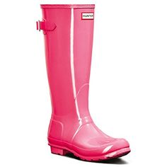 Womens Hunter Original Adjustable Back Gloss Winter Rainboots Wellington  Bright Cerise  8 -- This is an Amazon Affiliate link. Continue to the product at the image link.