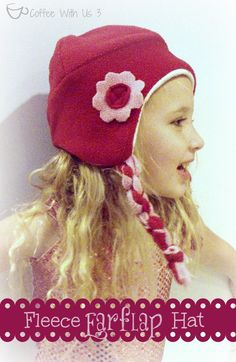 fleece earflap hat - cute and easy. Links in post for a FREE pattern!!