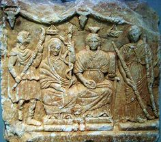 Cybele enthroned with Demeter flanked by Persephone and Iacchus - from Taurobolium Altar, 360-370 AD