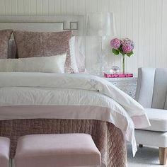 Light Gray Greek Key Headboard with Pink Bedding