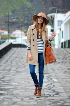 Insta <3 = neutral trench + striped shirt + perfect blue jeans+ floppy hat
