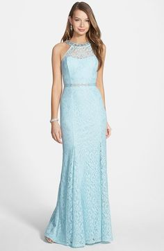 Nordstrom: Sequin Hearts: This gown comes in two colors: powder blue and pale pink! I like both color options but I wanted to post the powder blue color because it is different. This is an elegant gown with the embroidered lace with the silver embellishments. The dress also has a cutout back.