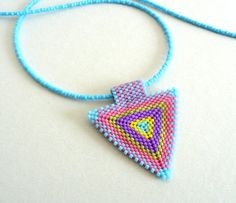 CIJ Sale - Triangle Necklace Multi Colored Necklace Pastel Colors Pendant Bead Weaving Triangle Jewelry
