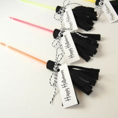 Need an alternative to candy for a Halloween Treat? Make a glow stick broom!