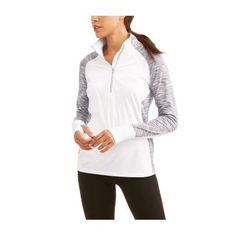 Athletic Works Women's Core Active Performance Quarter Zip with Thumbholes and Reflective Detail, Size: XL, White