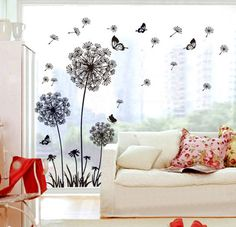 """Butterfly Flying In Dandelion ""bedroom StickersPoastoral Style Wall Stickers Original Design PVC Wall Decals"