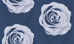 Giant Rose (2566) - Eco Wallpaper Wallpapers - A stunning giant scale rose motif in white velvet flock with a pixilated effect. Shown on a richly metallic deep blue background. Please request a sample for true colour match. Paste-the-wall product.