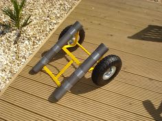 OK firstly this is not my idea, loads of people have done this before on other sites this is just to help people who might want to make a cheap home made trolley for their yak.  Its so simple, even a monkey like me managed it - although I did need help from Sam to cut