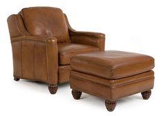 Penrose Leather Chair & Ottoman by Randall Allan