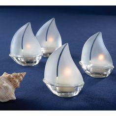 $17.99 Kate Aspen Glass Sailboat Tealight (Set of 12) : Target