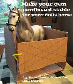 American girl doll craft project horse stable from cardboard box