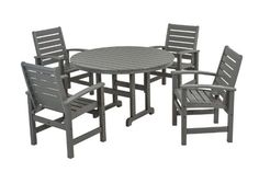 POLYWOOD® Signature 5-Piece Dining Set by POLYWOOD®. $1789.95. Constructed of durable HDPE POLYWOOD® lumber that provides the look of painted wood without the maintenance. POLYWOOD® lumber resists stains associated with wine and condiments and cleans easily with soap and water. Made in the USA. Available in 4 attractive- fade-resistant colors. Set includes four 1910 Signature Dining Chairs and one RT248 Round 48in Dining Table. Signature 5-Piece Dining Set in Slate Grey