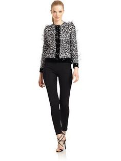 Giorgio Armani - Beaded Feather Appliqué Jacket - Saks.com