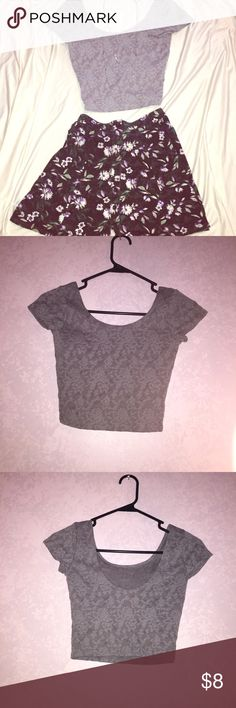 New Gray Lace Crop Top Abercrombie This crop top is absolutely adorable! I have never worn it so it's obviously in brand new condition. Partially open back (see pics) can be dressed up with a skirt or dressed down with jeans. ☺️ Open to all offers! Abercrombie & Fitch Tops Crop Tops