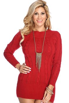 Layer up this fall with this chic knit piece! Featuring boat neckline, long sleeves, cable knit pattern, ribbed trim followed by a comfortable fitted wear. Throw on your favorite high waist skinnies, sweater, and knee high boots for a warm fall look! 100% Polyester