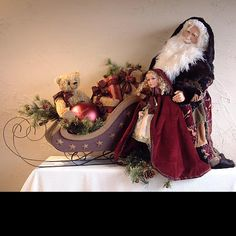 """Sled Scene Santa by Shelie and Richard McCall of Stone Soup - 36"""" tall"""