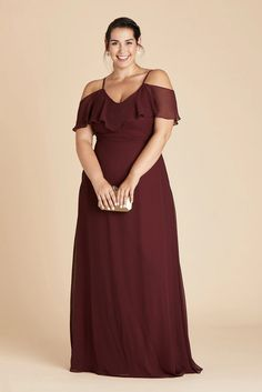 Jane Plus Size Convertible Chiffon Bridesmaid Dress in Cabernet – Birdy Grey Bridesmaid Dresses Under 100, Bridesmaid Dresses Plus Size, Burgundy Bridesmaid Dresses, Bridesmaids, Bridesmaid Gowns, Wedding Dresses, Yes To The Dress, Dress Up, Floor Length Gown