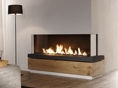 Bidore 140 by Element 4 - Modern Linear Gas fireplace with two full glass sides.