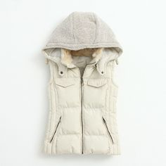$33.00 | Knitting Stitching Slim Hooded Cotton Vest