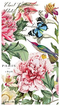 Michel Design Works Napkins. Michel Design Works 15-Count 3-Ply Paper Hostess Napkins, Peony. #michel #design #works #napkins #micheldesign #designworks #worksnapkins