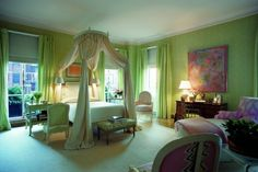 Pale green and soft pink bedroom designed by Albert Hadley, House & Home, photo William P. Green Rooms, Bedroom Green, Dream Bedroom, Home Bedroom, Bedroom Decor, Bedroom Curtains, Bedroom Colors, Bedroom Furniture, Bedroom Ideas