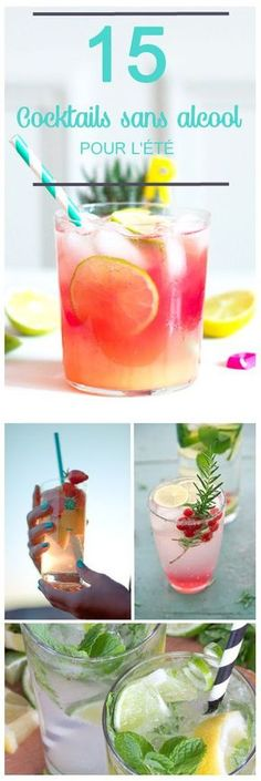 easy recipes of alcohol-free cocktail to do it yourself! 15 easy recipes of alcohol-free cocktail to do it yourself! , 15 easy recipes of alcohol-free cocktail to do it yourself! Beste Cocktails, Non Alcoholic Cocktails, Summer Cocktails, Drink Party, Alcohol Recipes, Mojito, Clean Eating Snacks, Healthy Drinks, Detox Drinks
