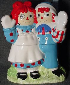 """Treasure Craft Raggedy Ann and Andy cookie jar, limited edition, other coordinating pieces were available, 15"""""""